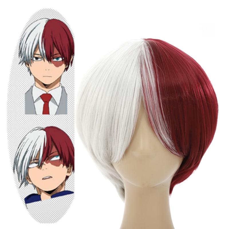 2018 High quality My Hero Academy Boku no Hiro Akademia Shoto Todoroki Cosplay Wig Halloween Costumes Grey Red Mix Short Hair