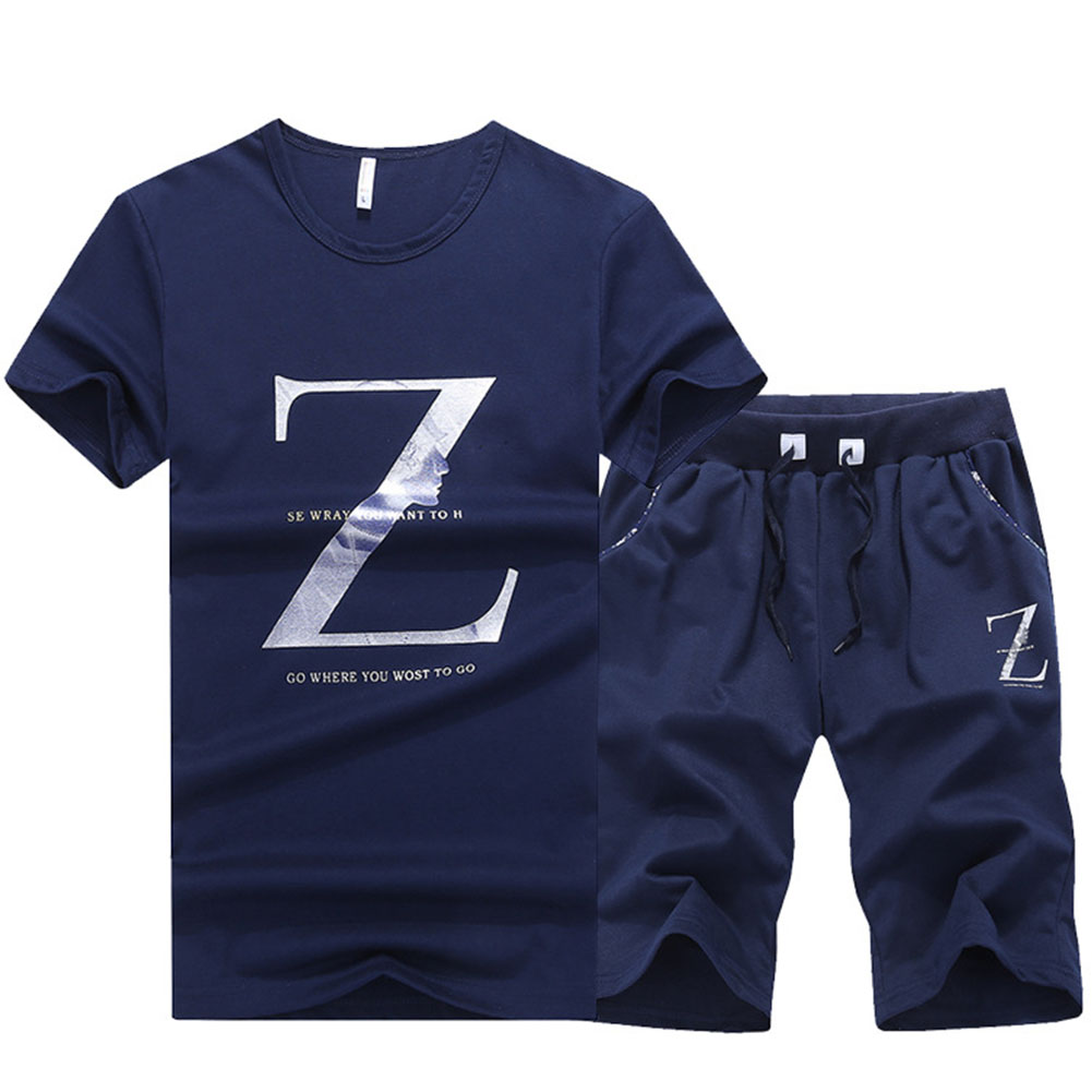 Men Holiday Base Two-piece Suit Summer Boys Round Collar Causal Short Sleeve T-shirt+shorts Set Slim Fit Daily Letter Printed Making Things Convenient For The People