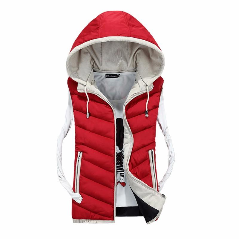 Winter Men Vest Fashion Outerwear Warm Sleeveless Waistcoat Male Hooded Cotton-Padded Vest Jacket 2016