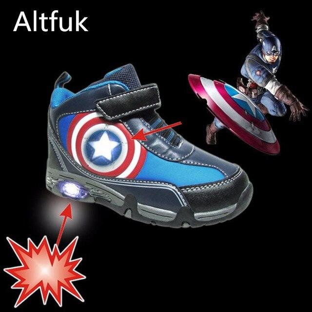 best website 999c2 740c2 US $41.65  Altfuk 25 ~ 32 Kleinkind Jungen Kinder Schuhe Captain America  Krasovki Leucht Turnschuhe Schuh High Top Kinder leuchten Schuhe in Altfuk  25 ...