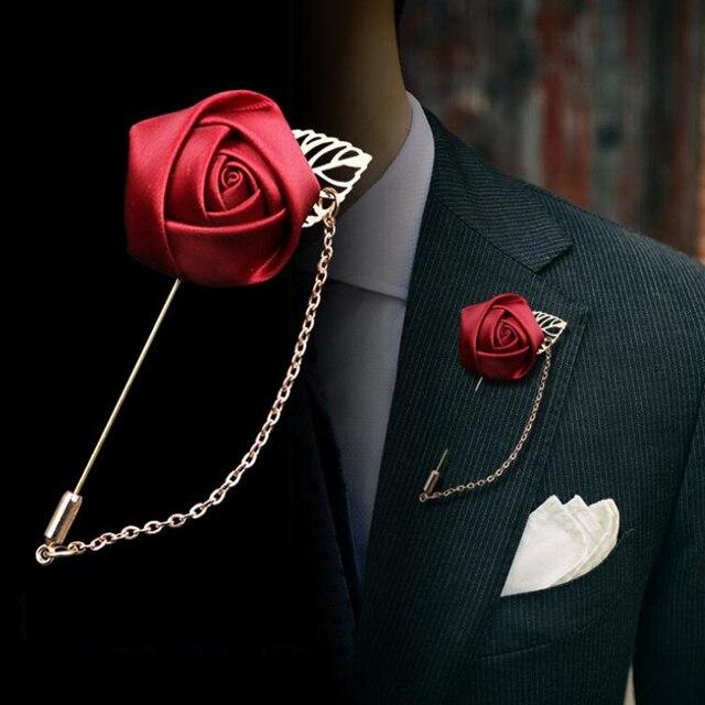 Sayao цельнокроеное платье модный костюм брошь на костюмы булавки броши Для мужчин свадебные розы ЦЕПИ ЛИСТЬЕВ корсаж куртка шпильки с отворотом