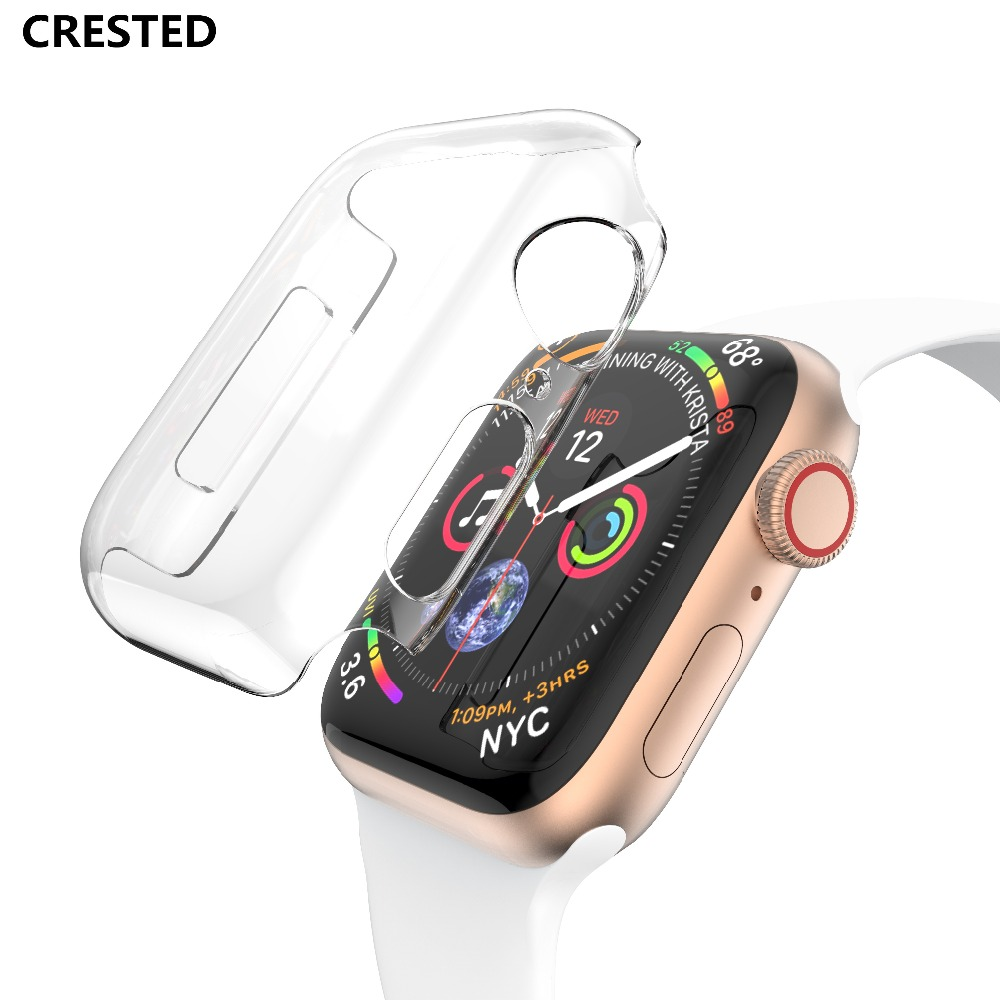 CRESTED Silicone Cover case For Apple Watch band 4 44mm 40mm screen protector iwatch 3 2 1 42mm/38mm soft Ultra-thin Clear frame цена