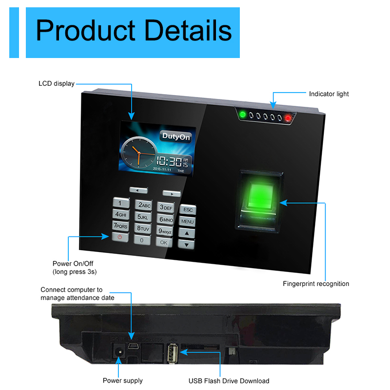 Fingerprint Access Control System Security Biometric Fingerprint Time Attendance System TCPIP USB Time Clock Employee Machine gprs real time fingerprint access guard tour system