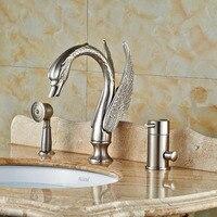 Лебедь Форма 3 шт. ванна кран Набор палубе горе ванна смесителя Матовый Никель отделка