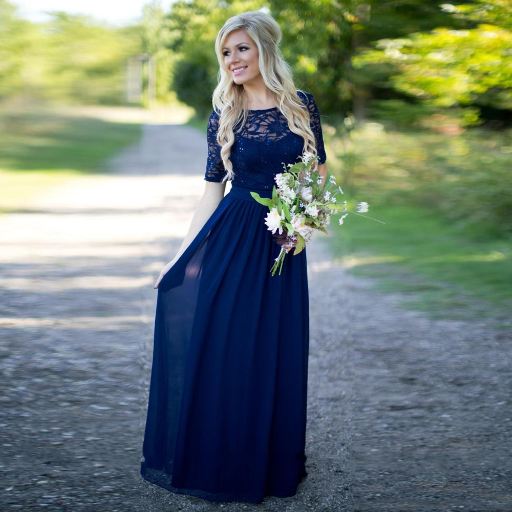 Navy blue bridesmaid dresses summer wedding guest dress for party navy blue bridesmaid dresses summer wedding guest dress for party chiffon appliques bridesmaid gowns sequins sleeve floor length in bridesmaid dresses from ombrellifo Image collections