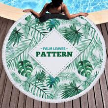 Customize Beach Towel Round Fresh Leaf Printed Tassel Soft Summer Swimming Chair Cover Bikini Cover-upPicnic Blanket