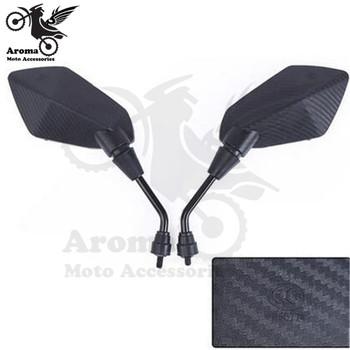 Czarny kolor włókna węglowego uniwersalny 10mm 8mm śruba moto krzyż ATV Off-road dirt pitbike bok motocykla lustro dla benelli yamaha suzuki kawasaki honda cb500x cb650f pcx 125 akcesoria moto lusterko wsteczne lusterko motocyklowe tanie i dobre opinie lizoai 9 2cm 30 5cm 15 5cm A-RM-59 Lusterka boczne i akcesoria 0 6kg mirror
