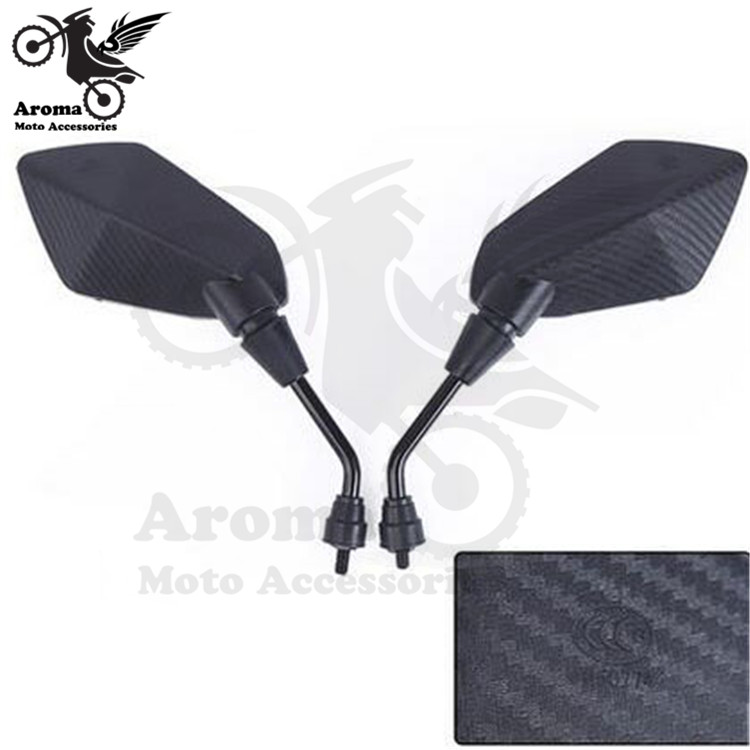 Black Carbon Fibre Color Universal 10mm 8mm Screw Motocross ATV Off-road Dirt Pit Bike Motorbike Side Mirror For Benelli Yamaha Suzuki Kawasaki Honda Cb500x Cb650f Pcx 125 Accessories Moto Rearview Motorcycle Mirror