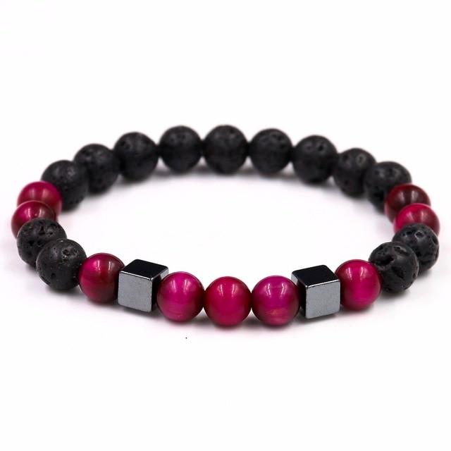 14d2491118f2 Hademade Style DIY Black Obsidian Tiger s Eye Bead Bracelet