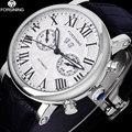 FORSINING Luxe Brand Mannen Vintage Automatische Horloges Mannelijke Mode Auto Datum Mechanische Horloges Rome Dial Echte Lederen Band