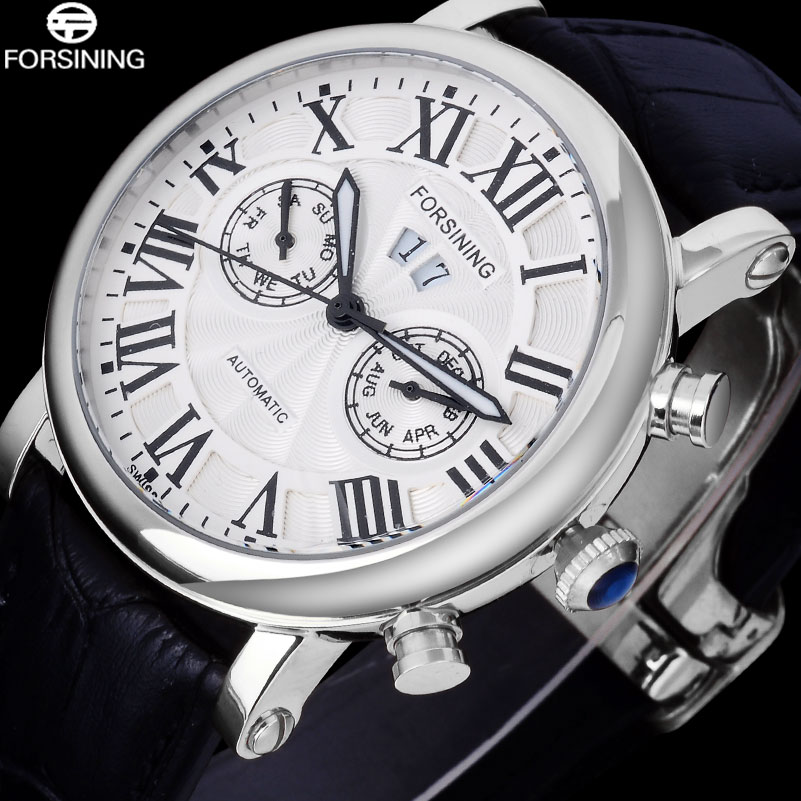 FORSINING Luxury Brand Men Vintage Automatic Watches Male Fashion Auto Date Mechanical Wristwatches Rome Dial Real Leather Band forsining fashion brand men simple casual automatic mechanical watches mens leather band creative wristwatches relogio masculino
