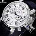 FORSINING Luxus Marke Männer Vintage Automatische Uhren Männlichen Mode Auto Datum Mechanische Armbanduhren Rom Dial Echt Leder Band-in Mechanische Uhren aus Uhren bei