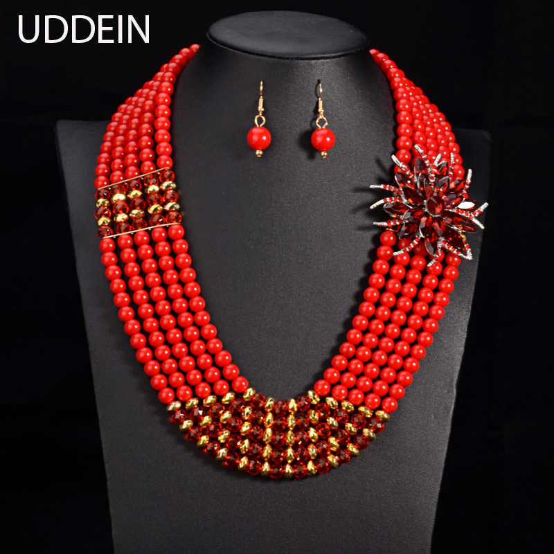 UDDEIN Nigerian wedding bridal jewelry sets crystal flower necklace & pendant women statement collar African beads  jewelry sets