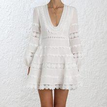 8346b05185a Self portrait белый для подиума женские платья дизайнер 2018 Мода Глубокий  V сексуальный пляжное платье Vestidos халаты