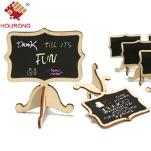 Hourong 10Pcs/Pack Mini Lace Blackboard Chalkboard Wooden Blackboard Price Stand For New Year Party Wedding Christmas Decoration