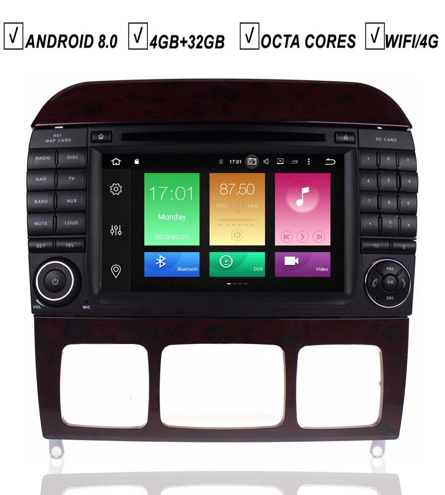 Lecteur DVD GPS de voiture 7''IPS Sat Navi Android 8.0 stéréo pour Mercedes Benz classe S W220 W215 S280 S320 S400 S500 4 GB RAM 32 GB ROM