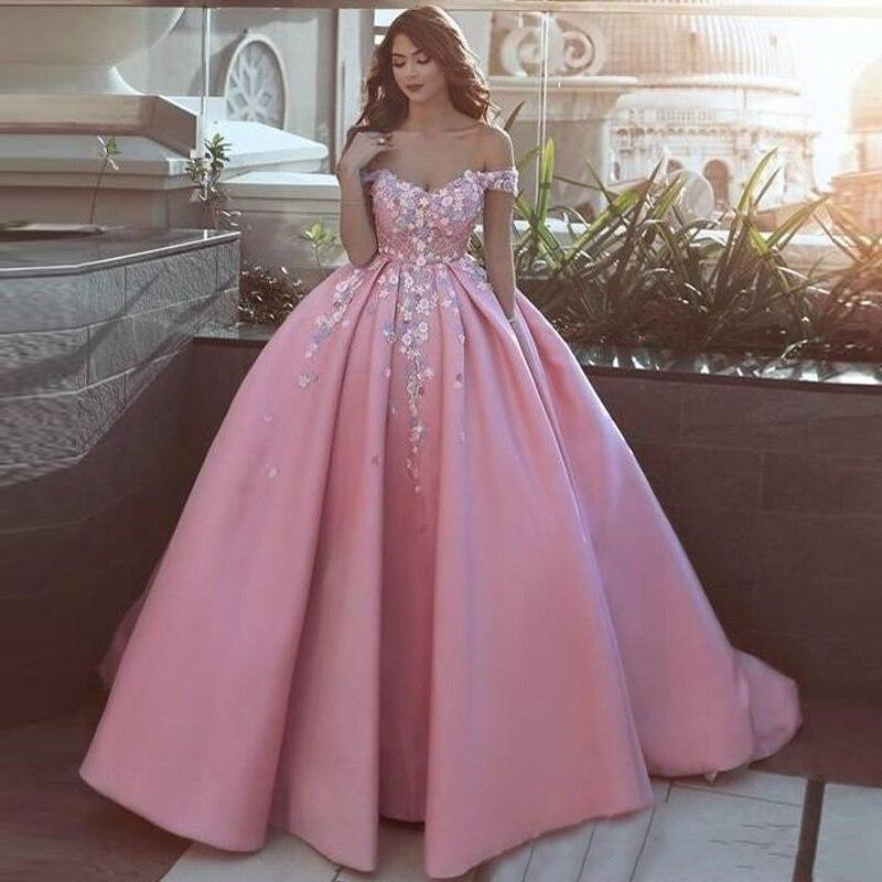 Saudi Arabia Pink Long Prom Gowns Pretty Flower Appliques Formal Party Gowns With Pockets A-line Plus Size Vestidos De Festa