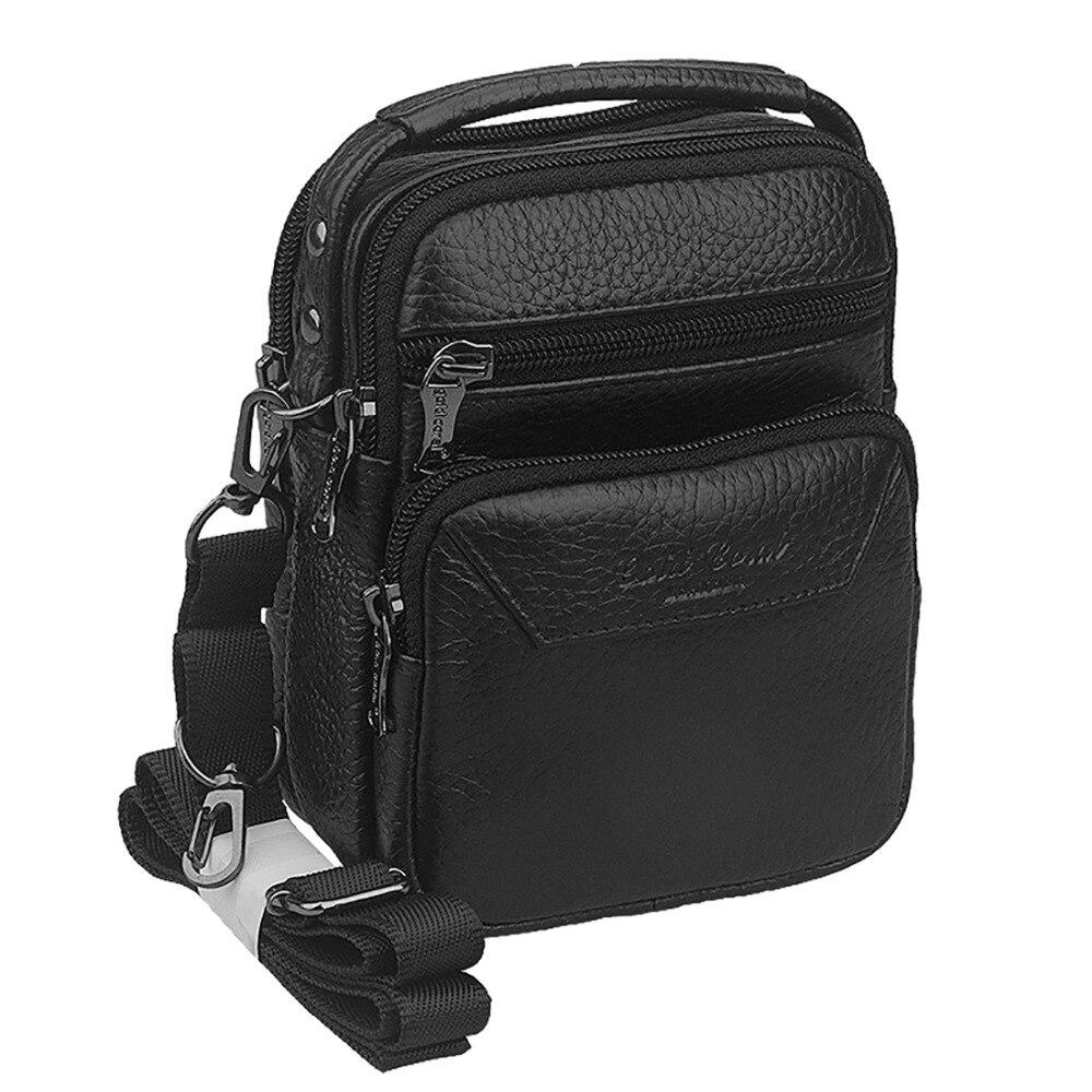 d359c5bb3b5b Genuine Leather Cowhide Messenger Shoulder Bag Tote Travel Men Hip Belt  Cell Phone Case Purse Fanny