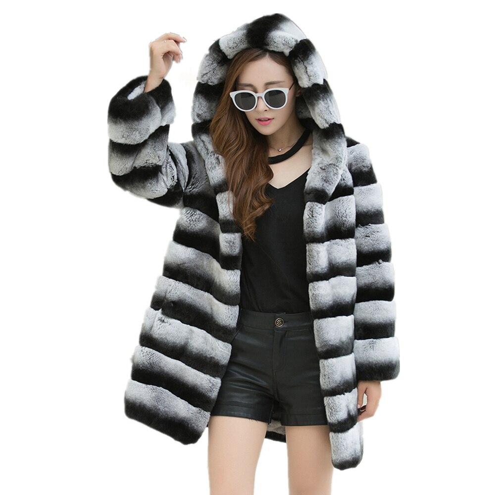 2018 nouvelles Femmes de manteau de fourrure UN grand chapeau Chaud et chaud d'hiver de fourrure manteau Le réel Lexus rex lapin cheveux