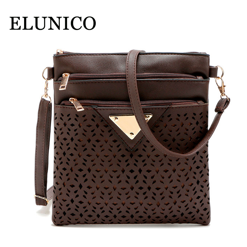 ELUNICO Women Messenger Bags Ladies Pu Leather Flap Small Shoulder Bag Casual Hollow Out Evening Day
