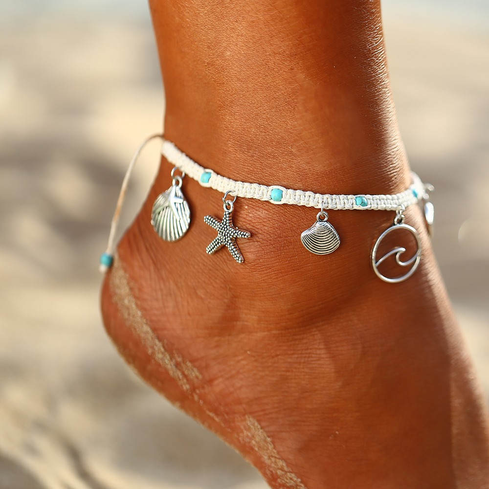17KM Bohemian Starfish Stone Anklets Set For Women Vintage Handmade Wave Anklet Bracelet on Leg Beach Ocean Jewelry 2018 2