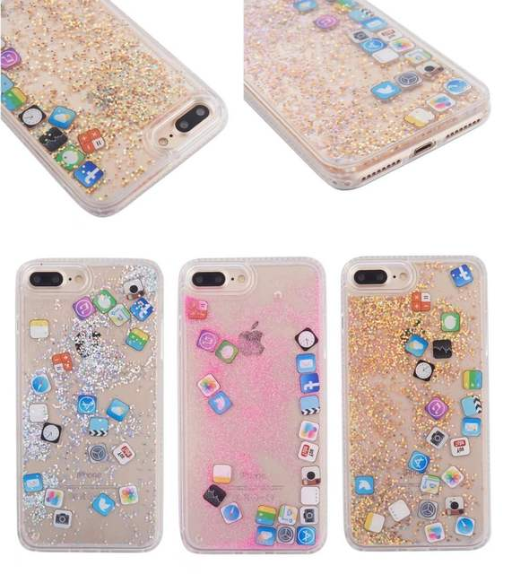 US $3 06 10% OFF|IOS App Icon pattern Case For iphone X XS MAX XR Glitter  Quicksand Liquid Phone Case For iphone 6 6S 7 8 Plus Back Cover-in