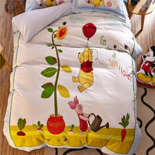 Yellow Winnie the Pooh 3D Bedding Sets Boys Bed Sheets Coverlet Cartoon Disney Sanding Cotton Warm Soft Winter Single Twin Queen