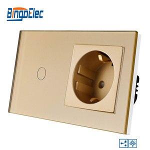 Image 3 - Bingoelec 1 כנופיית 2 דרך מגע Dimmable מתג האיחוד האירופי תקן מזג זכוכית פנל עם 16A גרמניה שקע קיר מתג AC 220 V