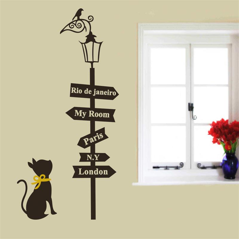 creative way sign cute cat bird light Quote PARIS LONDON  home living room decoration wall sticker DIY mural art for kids rooms