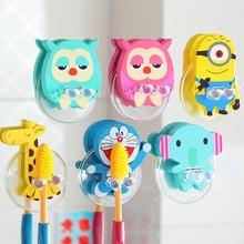 2pcs Animal Owl/elephant Cartoon Wooden Toothbrush Holder Suction Cup  Toothbrush Rack Organizer Bathroom Set Accessories