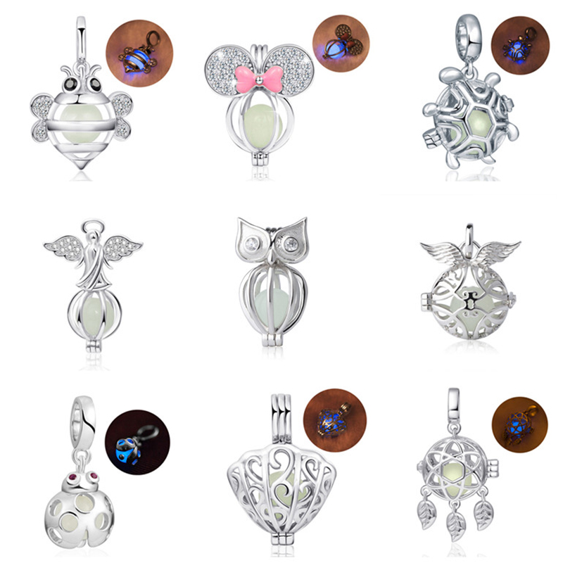 925 sterling silver firefly bee shell owl angel glowing Charms beads Fit original pandora pendant Bracelet Jewelry making Gifts strollgirl car keys 100% sterling silver charm beads fit pandora charms silver 925 original bracelet pendant diy jewelry making