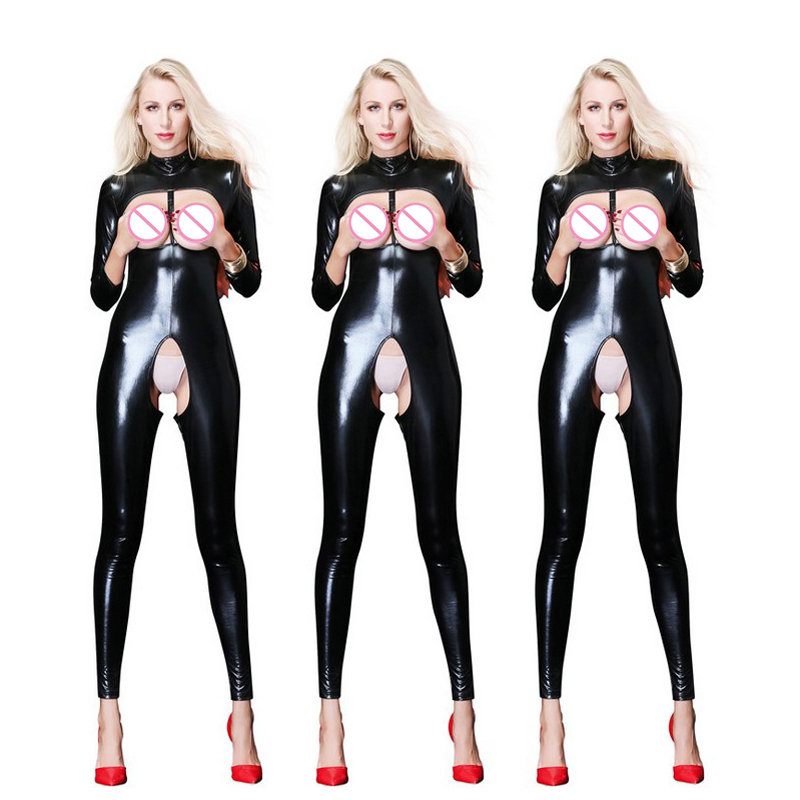 Plus Size Sexy Lingerie Leather PU Jumpsuit Open Bust sexy Catsuit Latex Open Crotch Clubwear Body Stocking Teddies Women|Teddies & Bodysuits| |  - title=