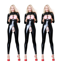 Plus Size Sexy Lingerie Leather PU Jumpsuit Open Bust sexy Catsuit Latex Open Crotch Clubwear Body Stocking Teddies Women