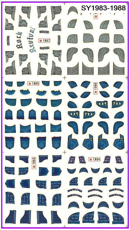 6 PACK/ LOT  GLITTER WATER DECAL NAIL ART NAIL STICKER JEAN TEXTILE FABRIC SY1983-1988