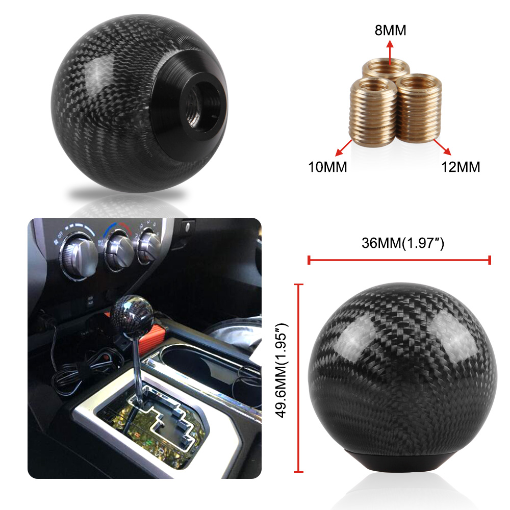 Carbon Fiber Gear Shift Lever Knob Manual Stick Shifter M10*1.5 with Adapter Black for Universal Car