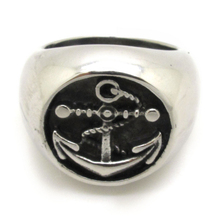 Rings For Men's Anchor Ring, Stainless Steel Biker Fashion Rock Charm Roundish Signet Ring Free Shipping