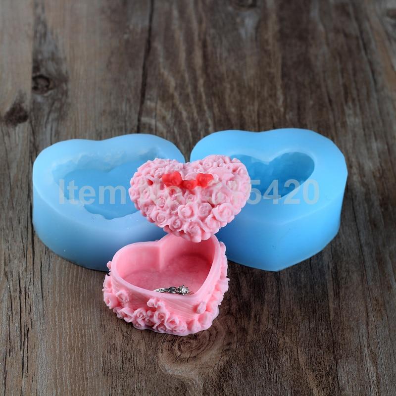 3D szappan penész szív alakú, házi 3D szív öltöző tok szilikon gyertya formák, 3D szilikon gyertya penész