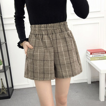 High waist women plaid Woolen shorts casual elastic short spring autumn winter korean style women short plus size mini shorts