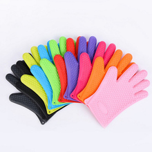 Kitchen Glove Heat Resistant Silicone Kitchen barbecue Heat Insulation Gloves pot pan Oven mittens Cooking BBQ Glove Oven Mitt heat resistant finger glove latest reinforced one piece trend protecting gloves goods magic funny handmade