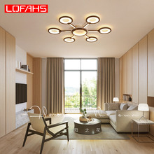 LOFAHS Modern led chandelier lighting for living room bedroom dining brown body classic design luster