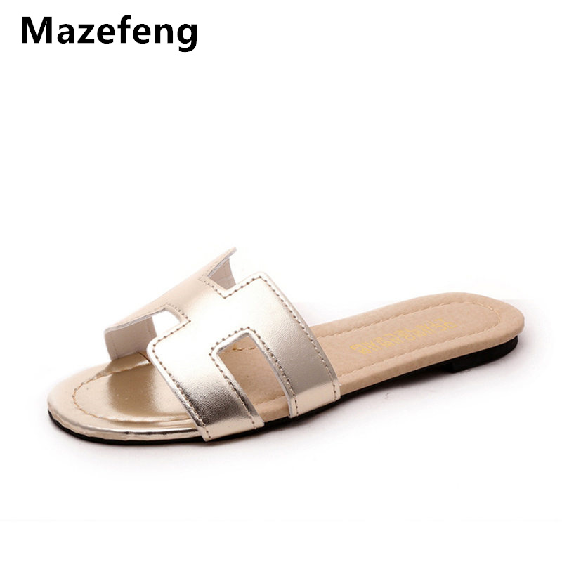 Mazefeng 2018 Summer Shoes Women Slippers Slides Women Casual Slippers Solid Hollow out Women Slides Classic H Slippers Non-slip punk style solid color hollow out ring for women