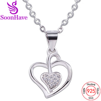 SoonHave Fashion Jewelry Accessories Charms Double Heart Pendant Sterling Silver 925 Surface Width 8 10mm Women