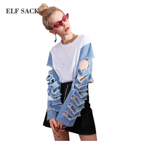 ELF SACK Hole Denim Sleeve Womens T shirts Kpop Rough Edge Tee Shirts Women O Neck Patchwork Korean Style High and Low Tops