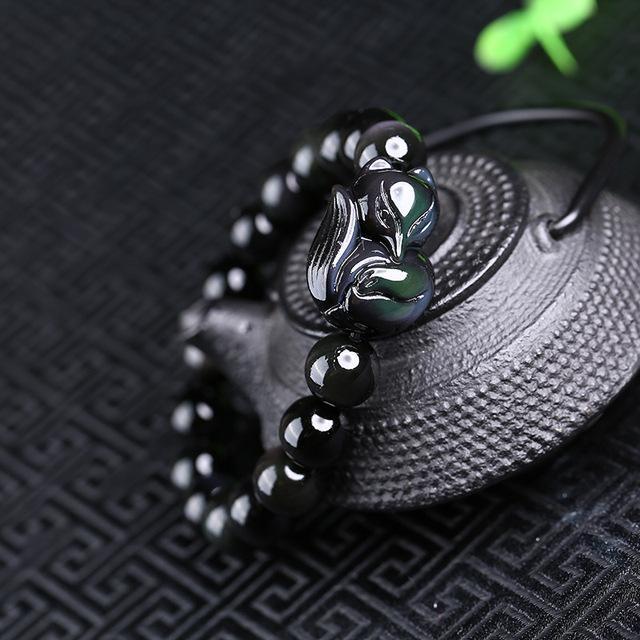 Natural Preto Obsidian Rodada Talão Pulseira Rainbow Olho Fox Pulseira Colo Único Corda Mão Bangles Presente para o amante de Jade jóias