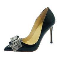 Talla 43 45 Crystal Bow Tie punta puntiaguda Stilettos tacones altos elegantes zapatos de fiesta para mujer