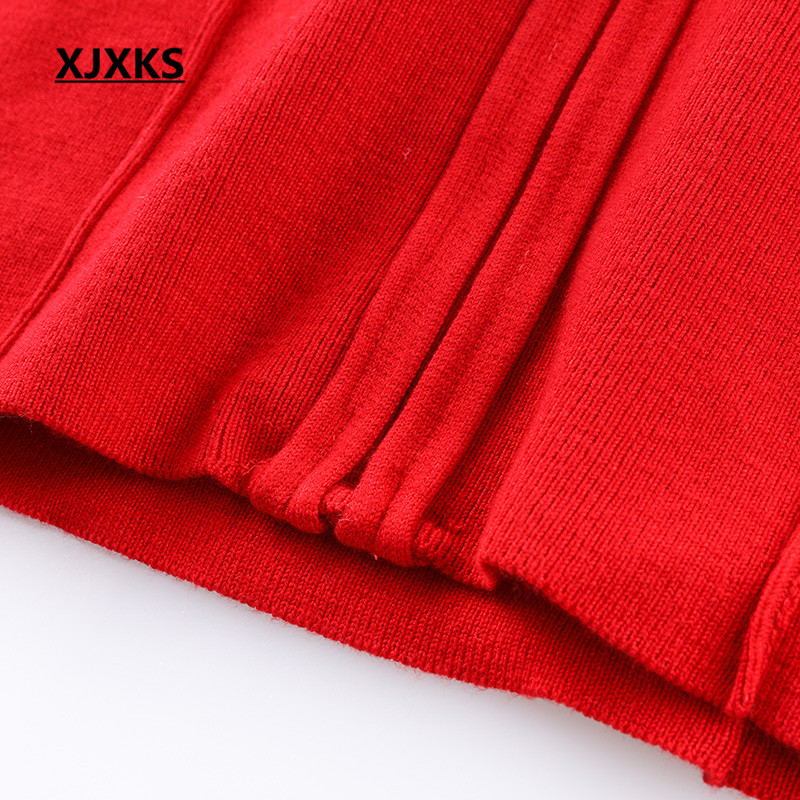 fb03b743fa5 XJXKS Sexy V neck Sashes Women Sweater Dress High Elasticity Long Sleeve  Button Decoration Christmas Sweaters Dresses -in Dresses from Women s  Clothing on ...