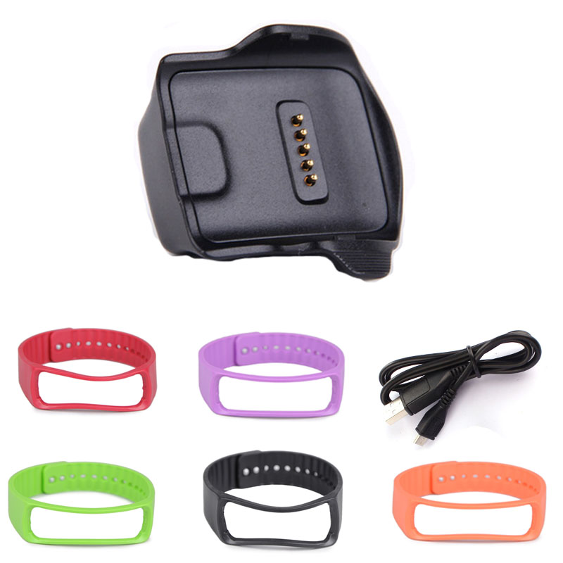 HL Cradle Charging Dock for Samsung Galaxy Gear Fit R350 Watch + USB Cable+Wrist Strap Aug 30 E22 #5