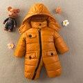 2016 Del Bebé Del Invierno con capucha de down mameluco niños niñas Grueso traje para la Nieve caliente bebé Gateando ropa de niño Mono Pato nieve desgaste