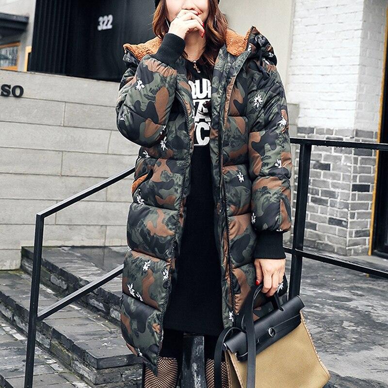 Femmes Manteau D'hiver 2017 Longue Outwear Épais Rembourré Veste de Coton pour les Femmes À Manches Longues Femmes Vers Le Bas Parka Vêtements Femmes Plus taille