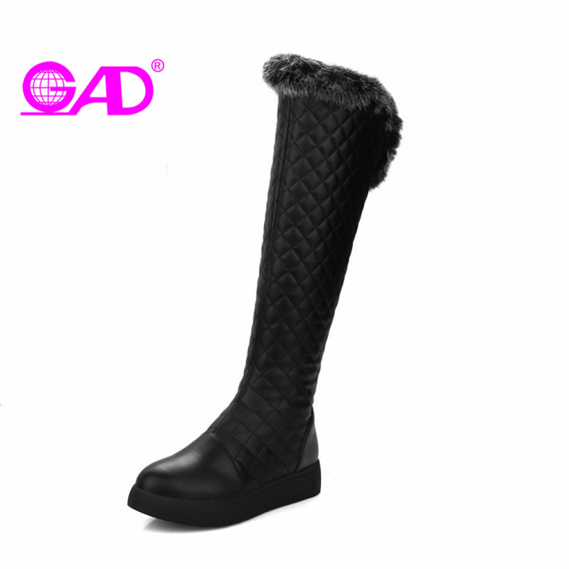 GAD New Fashion Side Zipper Women Knee-high Boots Warm Thick Plush Winter Shoes Women Waterproof Snow Boots Large Size 34-43 new fashion lady warm winter wool zipper tube snow boots for women knight boots brown size 34 43 women boots shoes new
